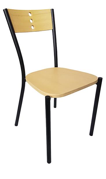 silla para restaurante 2660 en madera y acero