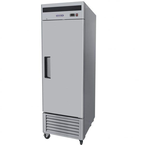 002 1 Congelador vertical con 1 puerta sólida , 3 parrillas plastificadas y un volumen interior de 14 ft3.