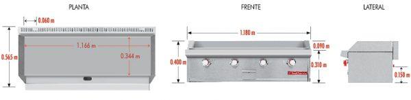 """0163 Plancha CH-4 PETIT. Fabricada en acero inoxidable tipo 430. Con Plancha de Cold Rolled a Gas y 4 Quemadores Tubulares. placa de 3/4"""" de espesor, área útil: frente: 1.166 m, fondo: 0.344 m. 1 charola para recolección de aceite. Medidas exteriores totales: Frente: 1.180 m Fondo: 0.565 m Alto: 0.310 m."""