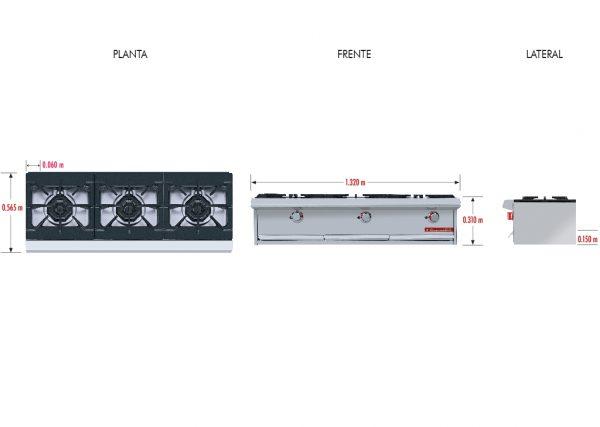 023 Parrilla PCH-3 HD. Fabricada en Acero Inoxidable tipo 430. a Gas con 3 Quemadores y 3 Parrillas en Hierro gris y 3 cubiertas Semi-selladas.   Parrilla a gas, con 3 quemadores de 35,000 BTU/hr,  3 parrillas en hierro gris y 3 cubiertas semi-selladas.  3 charola para recolección de escurrimientos.  Medidas exteriores totales:  Frente: 1,320 m  Fondo: 0.565 m  Alto: 0.310 m