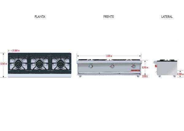 025 Parrilla PCH-3 HD. Fabricada en Acero Inoxidable tipo 430. a Gas con 3 Quemadores y 3 Parrillas en Hierro gris y 3 cubiertas Semi-selladas.   Parrilla a gas, con 3 quemadores de 35,000 BTU/hr,  3 parrillas en hierro gris y 3 cubiertas semi-selladas.  3 charola para recolección de escurrimientos.  Medidas exteriores totales:  Frente: 1,320 m  Fondo: 0.565 m  Alto: 0.310 m