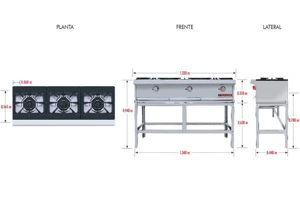 026 Parrilla PCH-3 HD. Fabricada en Acero Inoxidable tipo 430. a Gas con 3 Quemadores y 3 Parrillas en Hierro gris y 3 cubiertas Semi-selladas.   Parrilla a gas, con 3 quemadores de 35,000 BTU/hr,  3 parrillas en hierro gris y 3 cubiertas semi-selladas.  3 charola para recolección de escurrimientos.  Medidas exteriores totales:  Frente: 1,320 m  Fondo: 0.565 m  Alto: 0.310 m