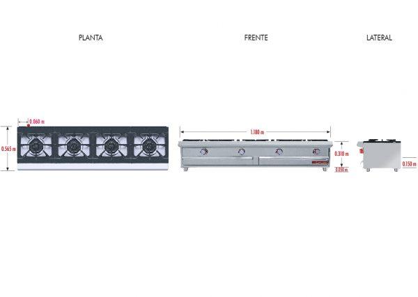 034 Parrilla PCH-4 HD. Fabricada en Acero Inoxidable tipo 430. Con Parrilla a Gas de 1 Quemador y 1 Parrilla en Hierro gris y 1 cubierta Semi-sellada.   Parrilla a gas, con 1 quemador de 3,000 BTU/hr,  1 parrilla en hierro gris y 1 cubierta semi-sellada  1 charola para recolección de escurrimientos.  Medidas exteriores totales:  Frente: 1,180 m  Fondo: 0.810 m  Alto: 0.310 m