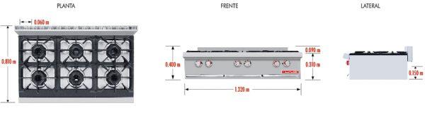 093 Parrilla PCV-6 HD.Fabricada en Acero Inoxidable tipo 430. Con Parrilla a Gas de 6 Quemadores y 3 Parrillas en Hierro gris y 3 cubiertas Semi-sellada. Parrilla a gas, con 6 quemadores de 35,000 BTU/hr, 3 parrilla en hierro gris y 1 cubierta semi-sellada 3 charola para recolección de escurrimientos. Medidas exteriores totales: Frente: 1.320 m Fondo: 0.810 m Alto: 0.310 m