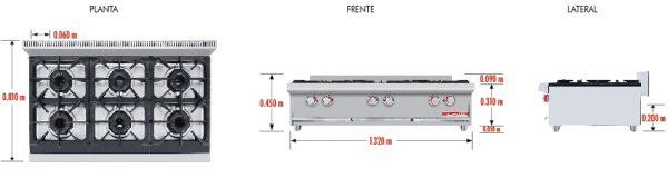 094 Parrilla PCV-6 HD.Fabricada en Acero Inoxidable tipo 430. Con Parrilla a Gas de 6 Quemadores y 3 Parrillas en Hierro gris y 3 cubiertas Semi-sellada. Parrilla a gas, con 6 quemadores de 35,000 BTU/hr, 3 parrilla en hierro gris y 1 cubierta semi-sellada 3 charola para recolección de escurrimientos. Medidas exteriores totales: Frente: 1.320 m Fondo: 0.810 m Alto: 0.310 m
