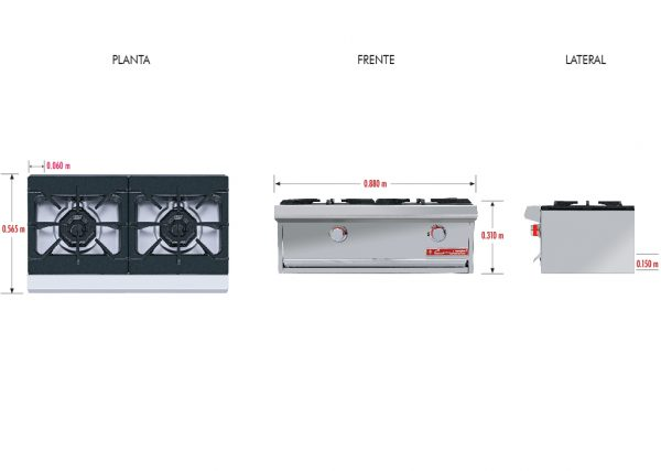 134 1 Parrilla PCH-2 HD. Fabricada en Acero Inoxidable tipo 430. a Gas con 2 Quemadores y 2 Parrillas en Hierro gris y 2 cubiertas Semi-selladas.   Parrilla a gas, con 2 quemadores de 35,000 BTU/hr,  2 parrillas en hierro gris y 2 cubiertas semi-selladas.  2 charola para recolección de escurrimientos.  Medidas exteriores totales:  Frente: 0.880 m  Fondo: 0.565 m  Alto: 0.310 m