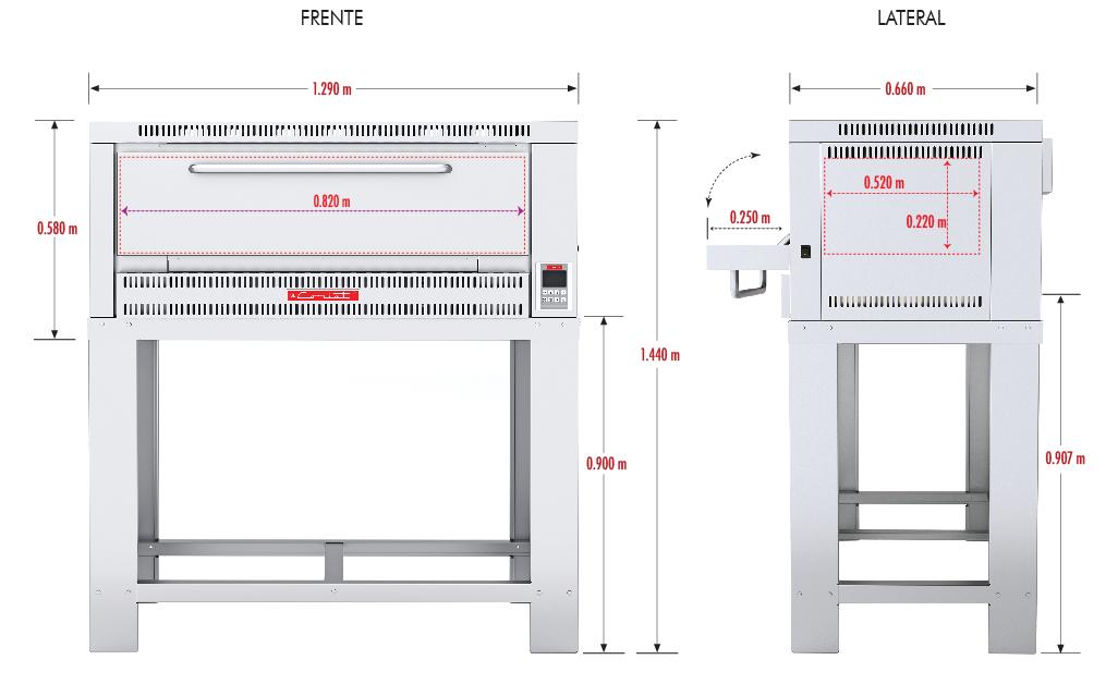294 Horno Para Pizza PIZZINO-3 PETIT. Fabricado Totalmente en Lamina de Acero Inoxidable tipo 430. A Gas con Compartimiento para 3 pizzas de 40 cms de Diámetro, piso refractario, controlado por un Termostato Digital.   1 termostato digital, rango de 100 a 350°c.  2 quemadores tubulares en acero inoxidable.  2 pisos cerámicos de alta concentración de temperatura.  Frente: 1.350 m  Fondo: 0.840 m  Alto: 1.220 m