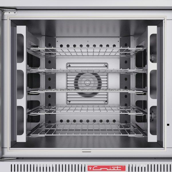 314 Horno De Convección HC-35-C-XL. Fabricado Totalmente en Lamina de Acero Inoxidable tipo 430. Funcionamiento a Gas con capacidad de 5 charolas de 65x45 cm. Controlado por un Termostato Digital. Puerta con ventana de cristal.   5 parrillas niqueladas dentro del horno  Control digital con un rango de temperatura de 50 a 300°c.  Turbina interior propulsada por un motor de 1/2 hp.  2 quemadores tubulares en acero inoxidable.  Frente: 1.100 m  Fondo: 0.990 m  Alto: 1.667 m