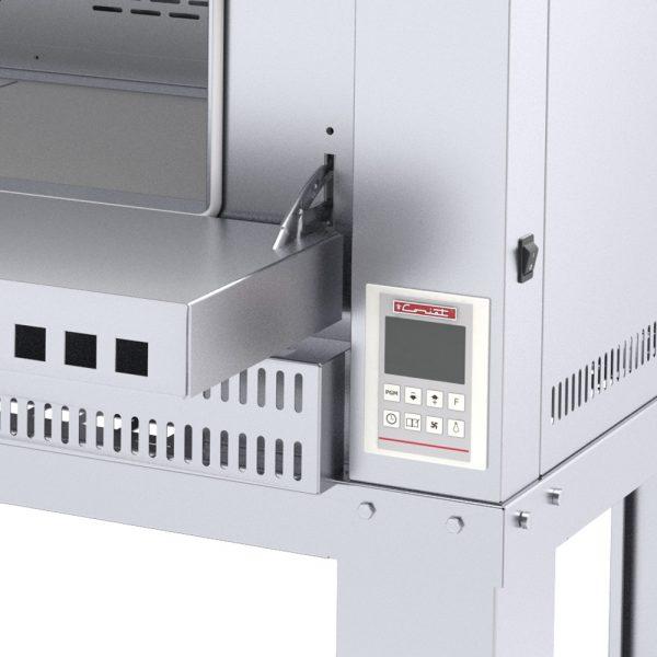 321 Horno Para Pizza PIZZINO-3 PETIT. Fabricado Totalmente en Lamina de Acero Inoxidable tipo 430. A Gas con Compartimiento para 3 pizzas de 40 cms de Diámetro, piso refractario, controlado por un Termostato Digital.   1 termostato digital, rango de 100 a 350°c.  3 quemadores tubulares en acero inoxidable.  3 pisos cerámicos de alta concentración de temperatura.  Frente: 1.700 m  Fondo: 0.810 m  Alto: 1.220 m