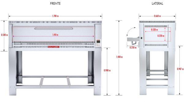 323 Horno Para Pizza PIZZINO-3 PETIT. Fabricado Totalmente en Lamina de Acero Inoxidable tipo 430. A Gas con Compartimiento para 3 pizzas de 40 cms de Diámetro, piso refractario, controlado por un Termostato Digital.   1 termostato digital, rango de 100 a 350°c.  3 quemadores tubulares en acero inoxidable.  3 pisos cerámicos de alta concentración de temperatura.  Frente: 1.700 m  Fondo: 0.810 m  Alto: 1.220 m