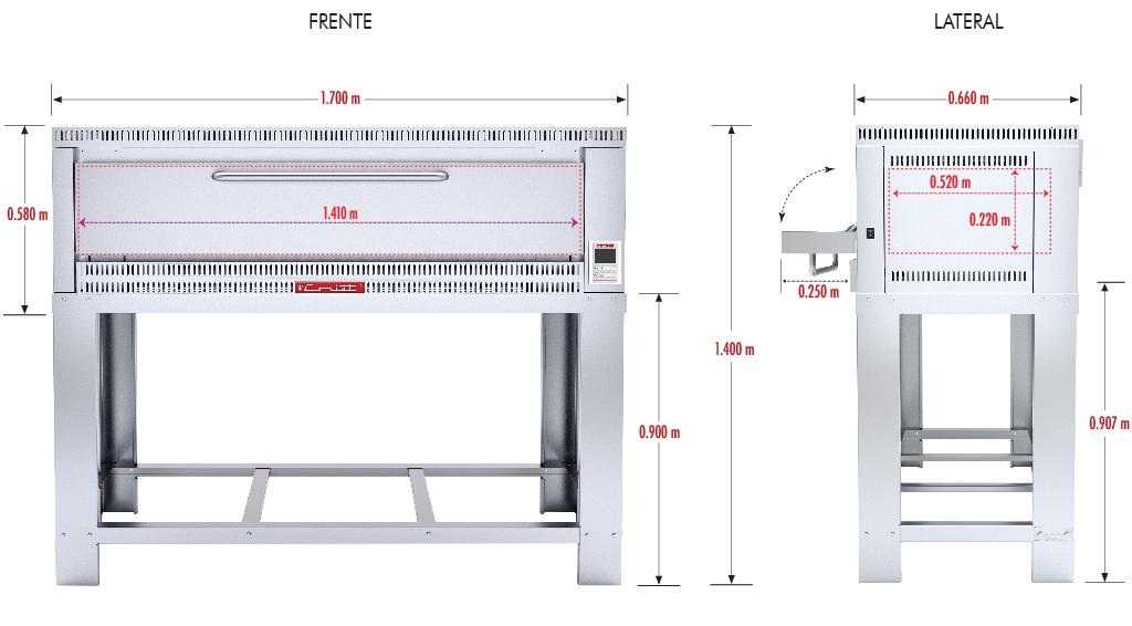 324 Horno Para Pizza PIZZINO-3 PETIT. Fabricado Totalmente en Lamina de Acero Inoxidable tipo 430. A Gas con Compartimiento para 3 pizzas de 40 cms de Diámetro, piso refractario, controlado por un Termostato Digital.   1 termostato digital, rango de 100 a 350°c.  3 quemadores tubulares en acero inoxidable.  3 pisos cerámicos de alta concentración de temperatura.  Frente: 1.700 m  Fondo: 0.810 m  Alto: 1.220 m