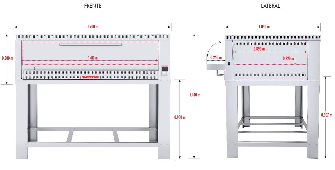 344 El Horno de PIZZA-6 MASTER se fabrica totalmente en lámina de Acero Inoxidable tipo 430. Su funcionamiento es a gas, con compartimiento para 6 pizzas de 40 cms de Díametro. Con piso refractario. El horno profesional para Pizza 6, es controlado por un Termostato Digital para lograr la repetición perfecta de su receta original. 1 termostato digital, rango de 100 a 350°c. 3 quemadores tubulares en acero inoxidable. 6 pisos cerámicos de alta concentración de temperatura. Frente: 1.700 m Fondo: 1.040 m Alto: 1.440 m Regresar a Hornos para Pizza