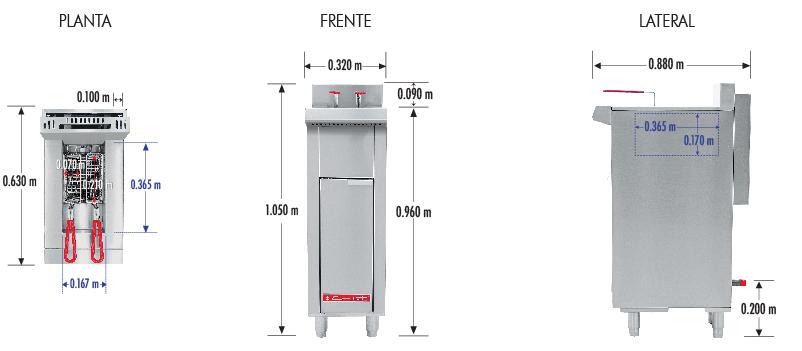 354 Freidora TURBO-6.5-1Q PETIT. De Piso Fabricada Totalmente en Lamina de Acero Inoxidable Tipo 430. A Gas. Encendido Electrónico capacidad de 6.5 litros. 2 Canastillas y un potente Quemador de recuperación inmediata y Termostato.   Termostato con rango de temperatura de 100 a 220° c  1 parrilla de alambrón niquelado para captar residuos.  Medidas exteriores totales:  Frente: 0.320 m  Fondo: 0.630 m  Alto: 0.960 m