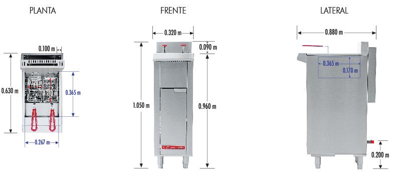 374 Freidora TURBO-10-2Q PETIT. De Piso Fabricada Totalmente en Lamina de Acero Inoxidable Tipo 430. A Gas. Encendido Electrónico capacidad de 10 litros. 2 Canastillas, 2 Quemadores de recuperación inmediata y Termostato.   Termostato con rango de temperatura de 100 a 220° c  1 parrilla de alambrón niquelado para captar residuos.  Medidas exteriores totales:  Frente: 0.320 m  Fondo: 0.630 m  Alto: 0.960 m