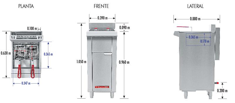384 Freidora TURBO-12.5-3Q PETIT. De Piso Fabricada Totalmente en Lamina de Acero Inoxidable Tipo 430. A Gas. Encendido Electrónico capacidad de 12.5 litros. 2 Canastillas, 3 Quemadores de recuperación inmediata y Termostato. Termostato con rango de temperatura de 100 a 220° c 1 parrilla de alambrón niquelado para captar residuos. Medidas exteriores totales: Frente: 0.390 m Fondo: 0.630 m Alto: 0.960 m