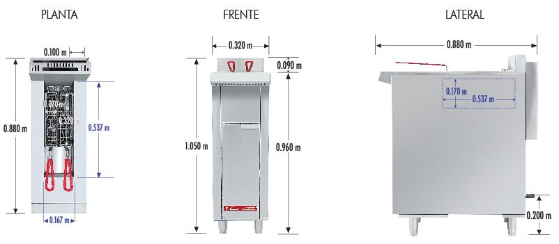 424 Freidora TURBO-8-1Q MASTER. De Piso Fabricada Totalmente en Lamina de Acero Inoxidable Tipo 430. A Gas. Encendido Electrónico capacidad de 8 litros. 2 Canastillas, 1 Potente quemador de recuperación inmediata y Termostato.   Termostato con rango de temperatura de 100 a 220° c  1 parrilla de alambrón niquelado para captar residuos.  Medidas exteriores totales:  Frente: 0.320 m  Fondo: 0.880 m  Alto: 0.960 m