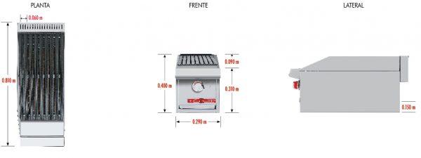 """513 Asador ACV-1 MASTER. Fabricado Totalmente en lámina de Acero inoxidable tipo 430, A Gas, con 1 parrilla reversibles área útil frente: 0.290 m, fondo: 0.540 y 1 capa de piedra volcánica refractaria. 1 quemadores tipo """"u"""" en acero inoxidable. 1 charolas para recolección de grasa. Medidas exteriores totales: Frente: 0.290 m Fondo: 0.810 m Alto: 0.310 m."""
