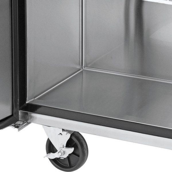 a032 Mesa de Trabajo Refrigerada de 3 puertas sólidas con 3 parrillas plastificadas y volúmen interior: 19 ft³ / 566 lt.