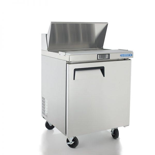 a038 Mesa Refrigerada para prepararsándwichesy ensaladas, con 1 puerta solida, 1 parrilla plastificada y volumen interior de 6 ft³ / 166 lt