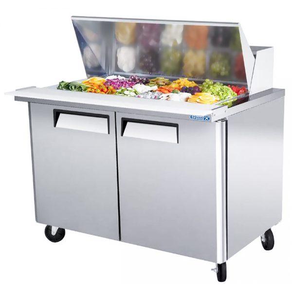 a041 Mesa refrigerada para preparar sándwiches y ensaladas con 2 puertasólidas, 2 parrillas plastificadas y volumen interior: 12 ft³ / 340 lt.