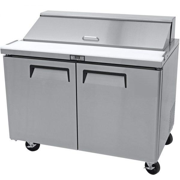 a042 Mesa refrigerada para preparar sándwiches y ensaladas con 2 puertasólidas, 2 parrillas plastificadas y volumen interior: 12 ft³ / 340 lt.