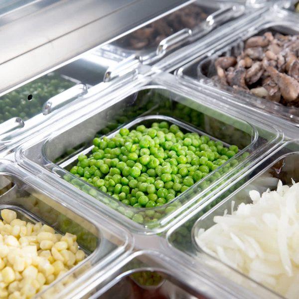 a043 Mesa refrigerada para preparar sándwiches y ensaladas con 2 puertasólidas, 2 parrillas plastificadas y volumen interior: 12 ft³ / 340 lt.
