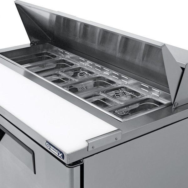 a044 Mesa refrigerada para preparar sándwiches y ensaladas con 2 puertasólidas, 2 parrillas plastificadas y volumen interior: 12 ft³ / 340 lt.