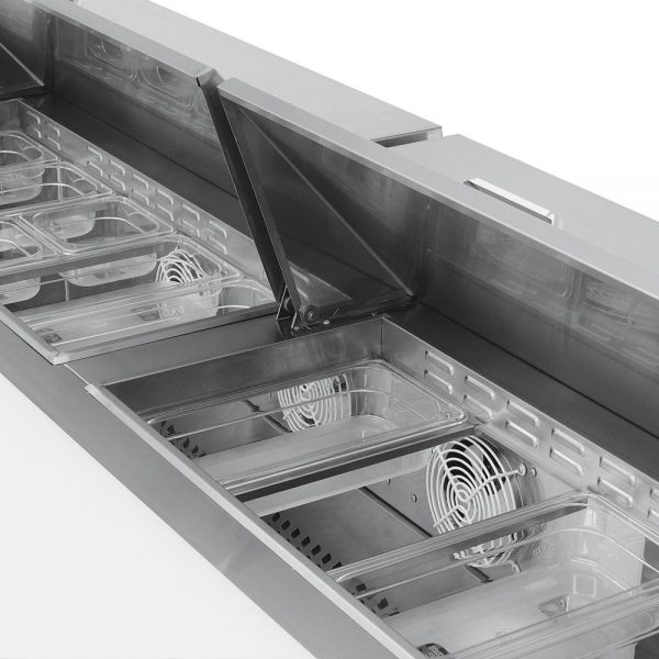 a059 Mesa Refrigerada para prepararsándwichesy ensaladas con 3 Puertas sólidas,3 Parrillas plastificadas y volumen interior: 20ft³