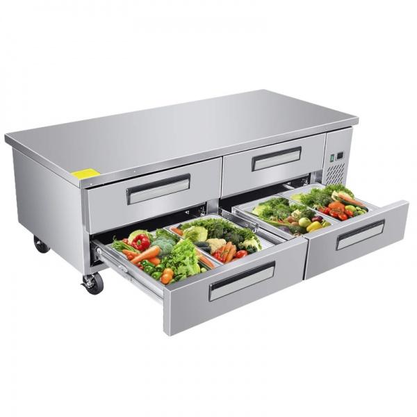 BBRS 184 4C alimentos Base refrigerada para colocar equipos de cocción; con 4 cajones y 2 insertos enteros cada uno