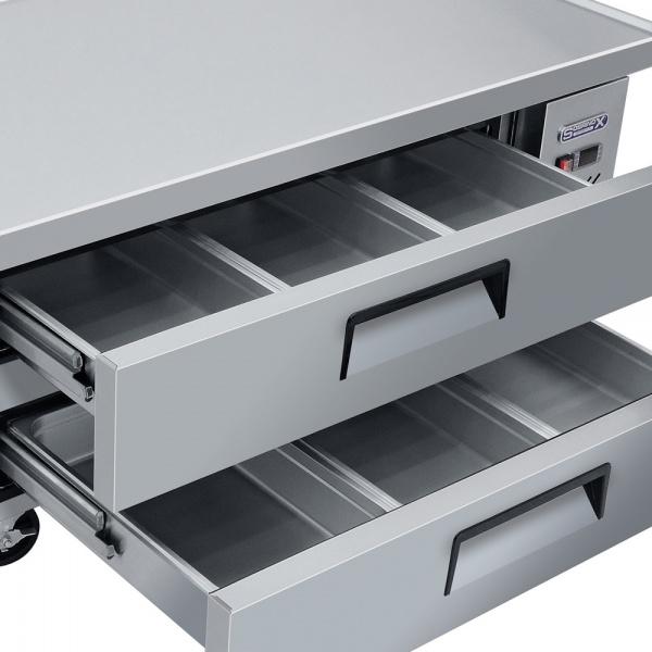 BRS 153 2C 2 Base refrigerada para colocar equipos de cocción; con 2 cajones y 3 insertos enteros cada uno.