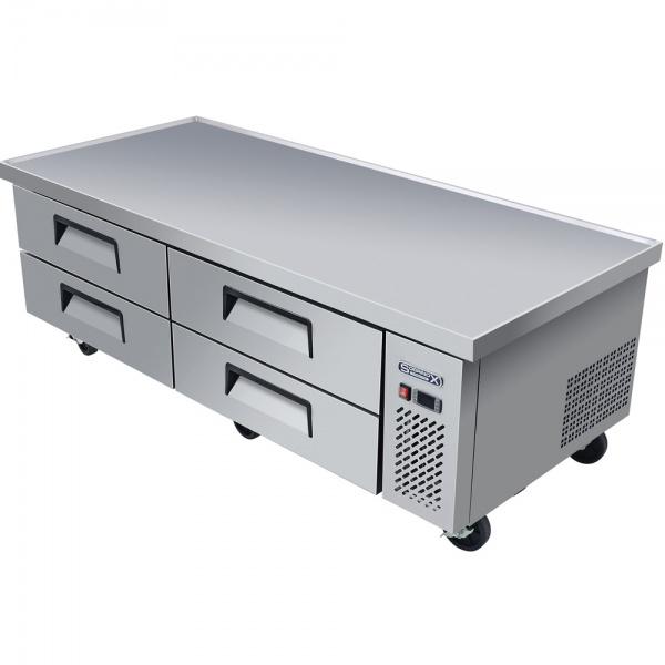 BRS 184 4C 1 1 Base refrigerada para colocar equipos de cocción, con 4 cajones y 2 insertos enteros cada uno.