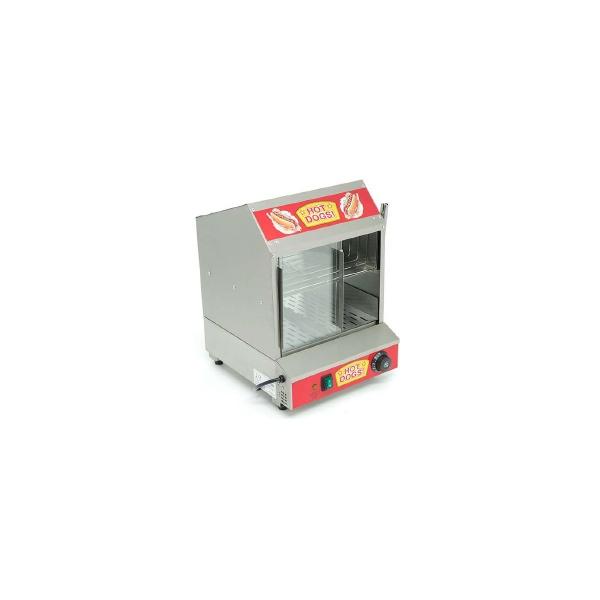 CZ 1PE 2 Cocinador de Hot Dogs con Calentador para Pan CZ-1PE. Atractivo e higiénico diseño que invita a consumir. Fabricado en Acero Inoxidable con vidrios templados.  Puede utilizarse con el termostato graduado en 0° y utilizarse como Vitrina Neutra.