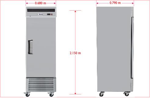 Dim RVS 114 S Refrigerador Profesional de Acero Inoxidable RVS-114-S. De Una Puerta Sólida, 3 Parrillas Plastificadas y Capacidad de 14 Pies Cúbicos.