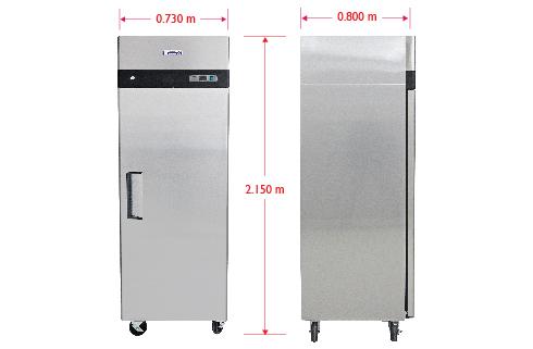 Dim RVS 124 S Refrigerador vertical de 1 puerta sólida con cerradura, 3 parrillas plastificadas y un volumen interior de 24 Pies Cúbicos