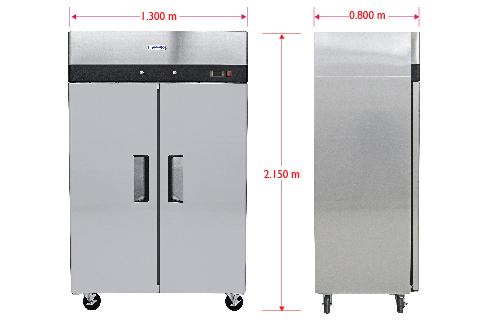Dim RVS 247 S Refrigerador Profesional de Acero Inoxidable RVS-247-S. Con Dos Puertas Sólidas, 6 Parrillas Plastificadas y Capacidad de 47 pies cúbicos.