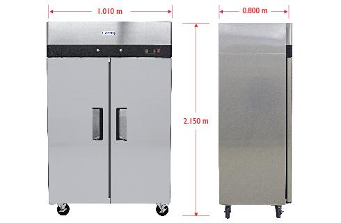 Dimensiones 235 Refrigerador Profesional en Acero Inoxidable RVS-235-S. De 2 Puertas Sólidas, 6 Parrillas Plastificadas y Capacidad de 35 pies cúbicos.