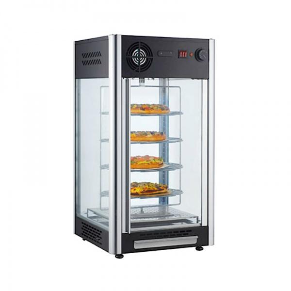 NR RTR 108L 2 La Vitrina Caliente Giratoria para Pizza NR-RTR-108L con un nuevo concepto en la conservación de alimentos. Trabajando de forma simple y práctica, eleva la humedad relativa del aire evitando que los alimentos se deshidraten. Manteniéndolos con la textura y el sabor original. Temperatura graduable de 30º a 40º Capacidad: 3.8 pies cúbicos / 108 Lts Resistencia: 1,150 Watts a 120 Voltios Medidas Exteriores: 0.47 x 0.47 x 0.87 m Ver más Vitrinas para Pizza Aquí