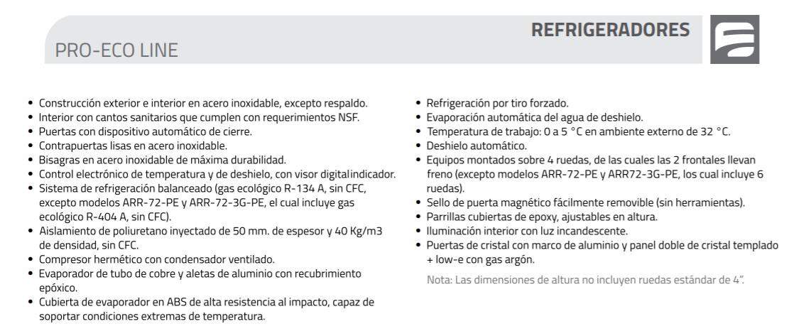 arr 17 1g pe diagr 1 Refrigerador Vertical Profesional ARR-37-2G-PE Pro-Eco 1 en Acero Inoxidable y 2 Puertas de Cristal. Capacidad de 37 pies cúbicos.