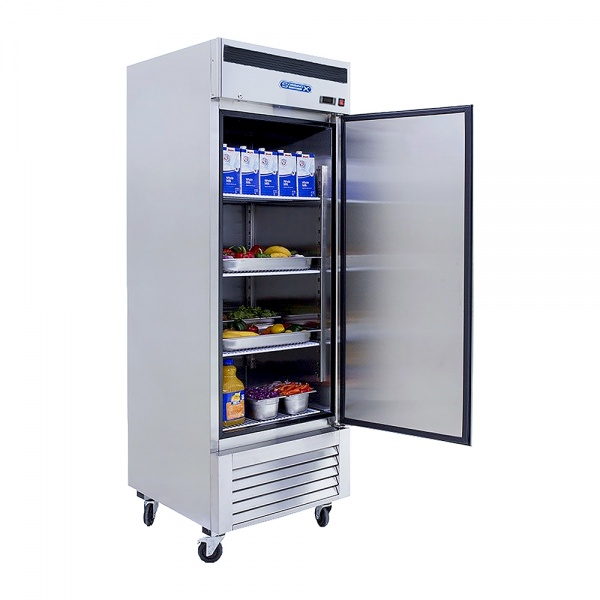 rvs114 2 Refrigerador vertical de 1 puerta sólida con cerradura, 3 parrillas plastificadas y un volumen interior de 24 Pies Cúbicos