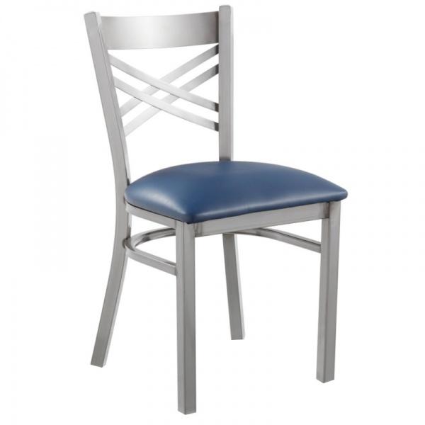 6018 azul Silla de Acero 6018 Fabricada en Acero Calibre 18 con asiento acojinado y tapizado. Esmaltada electrostáticamente. Colores de estructura y tapiz son a elección del Cliente.
