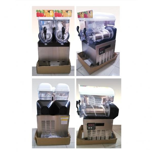 NL XRJ 15X2 2 1 Maquina Granita Granizadora NL-XRJ-15X3 de Tres Tazones de 15 litros cada uno. Su mejor aliado para la producción de Granizados, Bebidas Frías tipo Frappé y Yogurt Congelado. Es funcional, revolucionaria y muy segura en su operación. Agregue fruta natural endulzada, de concentrado o café preparado para frapuchino y listo... la máquina hace lo demás! Sólo se requiere que el producto tenga suficiente azúcar para lograr su congelación. Gracias a la capacidad de servicio de esta Granita, tenga la seguridad que ampliará sustancialmente su menú de bebidas.