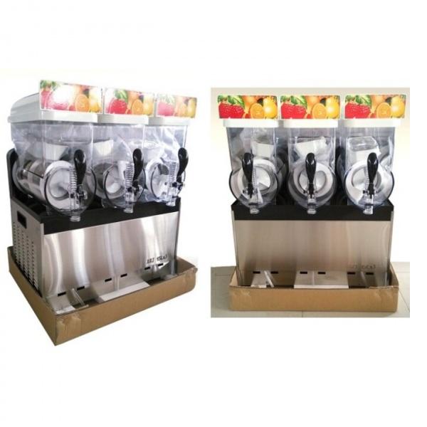 NL XRJ 15X3 2 Maquina Granita Granizadora NL-XRJ-15X3 de Tres Tazones de 15 litros cada uno. Su mejor aliado para la producción de Granizados, Bebidas Frías tipo Frappé y Yogurt Congelado. Es funcional, revolucionaria y muy segura en su operación. Agregue fruta natural endulzada, de concentrado o café preparado para frapuchino y listo... la máquina hace lo demás! Sólo se requiere que el producto tenga suficiente azúcar para lograr su congelación. Gracias a la capacidad de servicio de esta Granita, tenga la seguridad que ampliará sustancialmente su menú de bebidas.