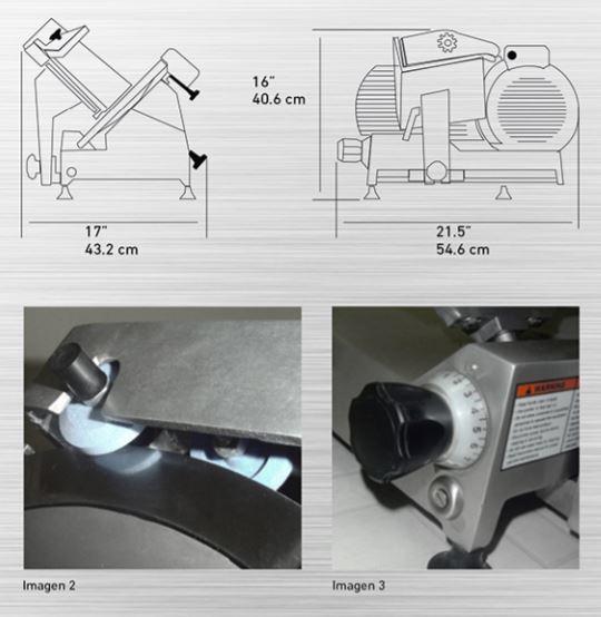 """RPK 250B diag Rebanadora de Carnes RPK-300. Ahorro en tiempo y dinero. La mayoría de las partes del equipo se desmontan fácilmente sin necesidad de herramientas, reduciendo el tiempo que se emplea en la limpieza y costos de mantenimiento.   Construida en aluminio anodizado y acero inoxidable.  Cuchilla de 300 mm. (11.81"""")  Transmisión de Engranes.  Afilador Integrado.  Motor de 1/3 H.P  Ideal para grandes Volúmenes."""