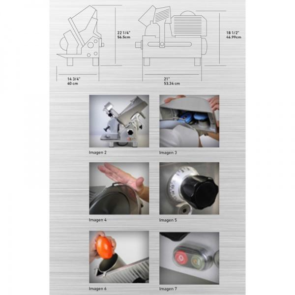 """RPK 300 diag Rebanadora de Carnes RPK-300. Ahorro en tiempo y dinero. La mayoría de las partes del equipo se desmontan fácilmente sin necesidad de herramientas, reduciendo el tiempo que se emplea en la limpieza y costos de mantenimiento.   Construida en aluminio anodizado y acero inoxidable.  Cuchilla de 300 mm. (11.81"""")  Transmisión de Engranes.  Afilador Integrado.  Motor de 1/3 H.P  Ideal para grandes Volúmenes."""