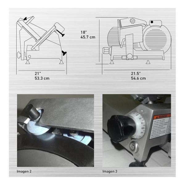 """RPK 300B diag Rebanadora de Carnes RPK-300B. Ahorro en tiempo y dinero. La mayoría de las partes del equipo se desmontan fácilmente sin necesidad de herramientas, reduciendo el tiempo que se emplea en la limpieza y costos de mantenimiento. Higiénica presentación es sus acabados de aluminio anodizado. Cuchilla de 300 mm. (11.81"""") Transmisión de Banda. Afilador Integrado. Motor de 1/3 H.P Diseño compacto que permite ahorrar espacio."""