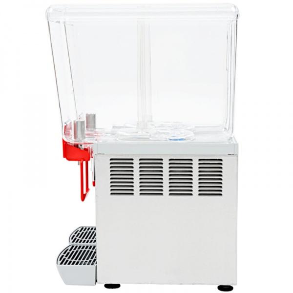 deluxe 12x2 3 Dispensador de Bebidas Refrigeradas D12-3 Los enfriadores refrigerados mantienen en continuo movimiento sus bebidas y jugos promoviendo su consumo. También le otorga un mucho mayor margen de utilidad con respecto a las bebidas embotelladas.   Gabinete Fabricado en Acero Inoxidable.  Tres Tazones de 12 lts. de policarbonato de alta resistencia.  Agitación por turbina magnética .  Compresor hermético sellado.  Termostato ajustable.  Nivel de ruido inferior a 70 dB (A).
