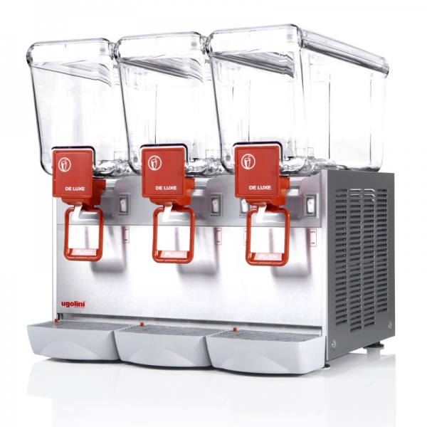 deluxe 12x3 2 Dispensador de Bebidas Refrigeradas D12-3 Los enfriadores refrigerados mantienen en continuo movimiento sus bebidas y jugos promoviendo su consumo. También le otorga un mucho mayor margen de utilidad con respecto a las bebidas embotelladas.   Gabinete Fabricado en Acero Inoxidable.  Tres Tazones de 12 lts. de policarbonato de alta resistencia.  Agitación por turbina magnética .  Compresor hermético sellado.  Termostato ajustable.  Nivel de ruido inferior a 70 dB (A).