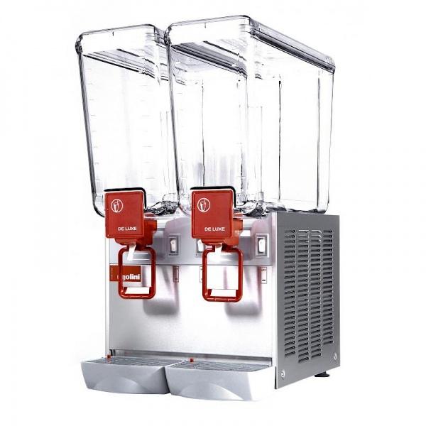 deluxe 20x2 2 Dispensador de Bebidas Refrigeradas D20-2 Los enfriadores refrigerados mantienen en continuo movimiento sus bebidas y jugos promoviendo su consumo. También le otorga un mucho mayor margen de utilidad con respecto a las bebidas embotelladas. Gabinete Fabricado en Acero Inoxidable. Dos Tazones de 20 lts. de policarbonato de alta resistencia. Agitación por turbina magnética . Compresor hermético sellado. Termostato ajustable. Nivel de ruido inferior a 70 dB (A).