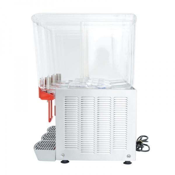 deluxe 20x3 1 Dispensador de Bebidas Refrigeradas D20/3 Los enfriadores refrigerados mantienen en continuo movimiento sus bebidas y jugos promoviendo su consumo. También le otorga un mucho mayor margen de utilidad con respecto a las bebidas embotelladas. Gabinete Fabricado en Acero Inoxidable. Trs Tazones de 20 lts. de policarbonato de alta resistencia. Agitación por turbina magnética . Compresor hermético sellado. Termostato ajustable. Nivel de ruido inferior a 70 dB (A).