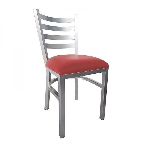 """2780 rojo La Silla de Acero para Restaurante 2780 gracias a su fortaleza y contemporáneo diseño acomoda perfectamente en Restaurantes y Comedores de Empleados. Es fabricada en Acero Cuadrado de 1 1/4"""" cal. 18 esmaltado electrostáticamente. El Asiento es acojinado y tapizado en Tela o Vinipiel. El Color de la estructura y asiento son a elección del Cliente para su fabricación y por lo tanto se adaptará a cualquiera que sea su plan de ambientación.*Entrega Inmediata con asiento tapizado en color Negro y Esmaltada color Gris Plata (Ver galería). Regresar a Sillas de Acero"""